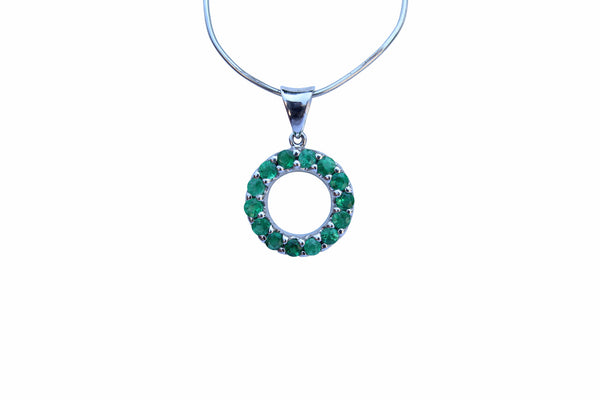 Emerald Gemstone Circle Pendant set in Sterling Silver - Amazon Imports, Inc. - Fine Quality Gemstones and Jewelry Since 1978