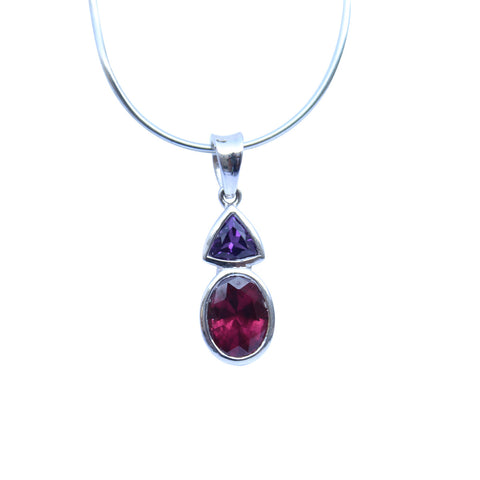 Amethyst and Rhodolite Garnet Gemstone Pendant set in Sterling Silver - Amazon Imports, Inc. - Fine Quality Gemstones and Jewelry Since 1978