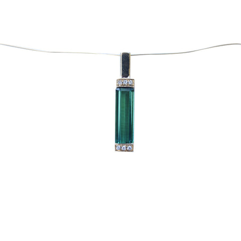 Green Tourmaline Gemstone Pendant in 18kt. Gold with Diamond accents - Amazon Imports, Inc. - Fine Quality Gemstones and Jewelry Since 1978