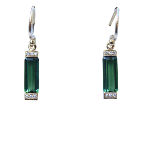 Green Tourmaline Gemstone Earrings in 18kt. Gold with Diamond accents - Amazon Imports, Inc. - Fine Quality Gemstones and Jewelry Since 1978
