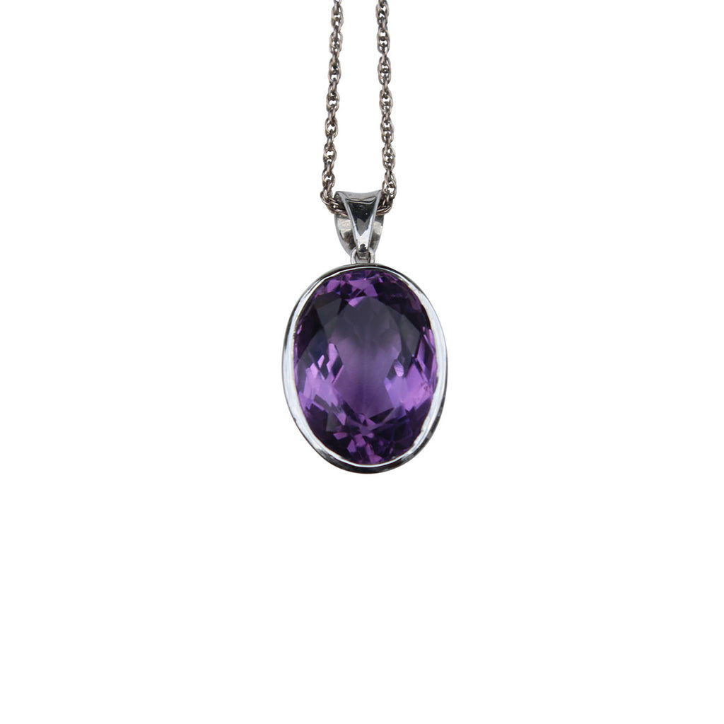 Amethyst Gemstone Pendant Set In Sterling Silver - Amazon Imports, Inc. - Fine Quality Gemstones and Jewelry Since 1978