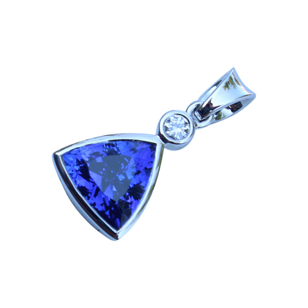 Tanzanite Gemstone Trillion Pendant Set in 18 Kt. White Gold - Amazon Imports, Inc. - Fine Quality Gemstones and Jewelry Since 1978