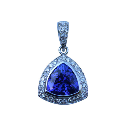 Tanzanite Gemstone Pendant in 18 kt White Gold with Diamonds - Amazon Imports, Inc. - Fine Quality Gemstones and Jewelry Since 1978