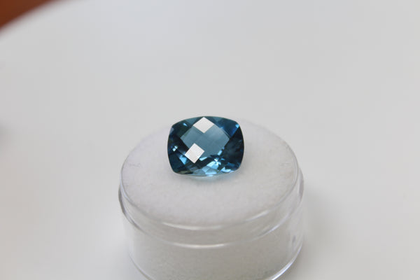 London Blue Topaz  Gemstone - 6.50 ct checkerboard cushion cut - Amazon Imports, Inc. - Fine Quality Gemstones and Jewelry Since 1978