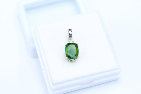 Chrome Diopside Pendant set in 14kt White Gold with Diamond Accent - Amazon Imports, Inc. - Fine Quality Gemstones and Jewelry Since 1978