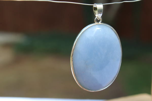 Large Oval Angelite Pendant - Amazon Imports, Inc. - Fine Quality Gemstones and Jewelry Since 1978