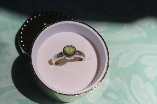 Green Tourmaline Cab Ring in Sterling Silver