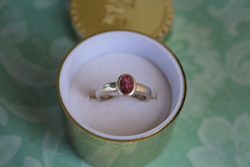 Pink Tourmaline Ring  -  Bezel set in Sterling Silver