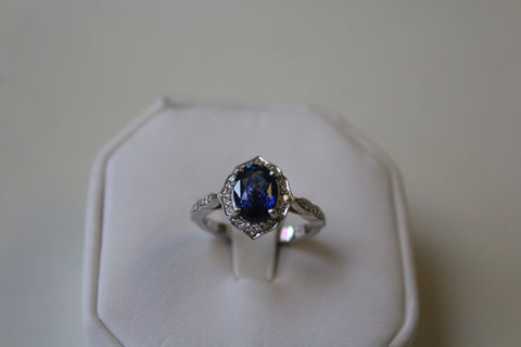 Blue Sapphire Ring with Diamonds - set in 14 kt. White Gold