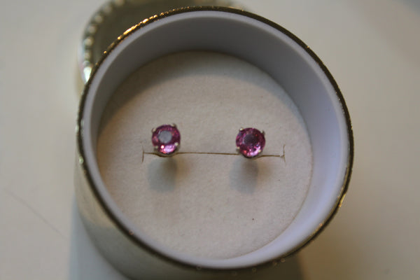 Pink Sapphire Earrings set in 14 Kt. White Gold