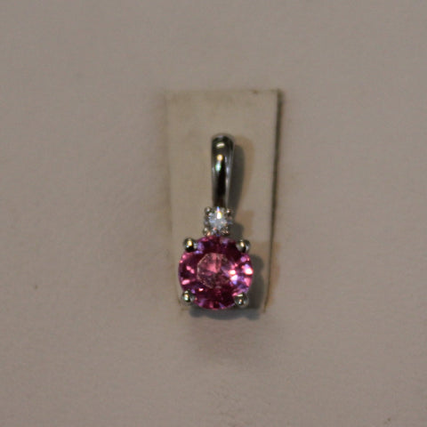 Pink Sapphire Pendant in 14 kt. White Gold - diamond accent
