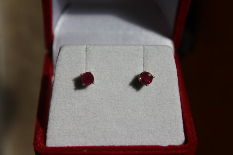 Ruby Earrings set in 14 Kt. White Gold