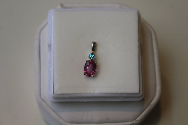 Pink Sapphire Pendant in 14 kt. White Gold - Paraiba Tourmaline accent