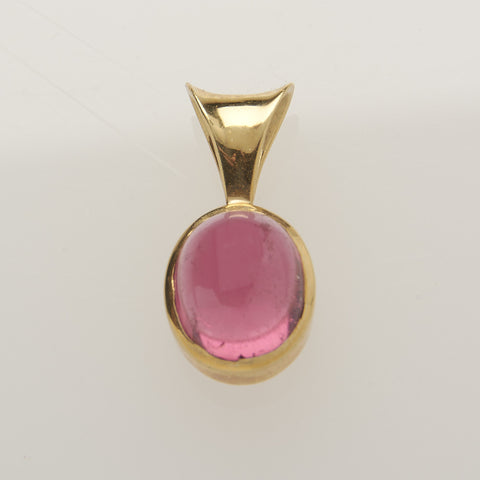 Pink Tourmaline Cabochon Pendant Set in 18 kt. Yellow Gold - Amazon Imports, Inc. - Fine Quality Gemstones and Jewelry Since 1978