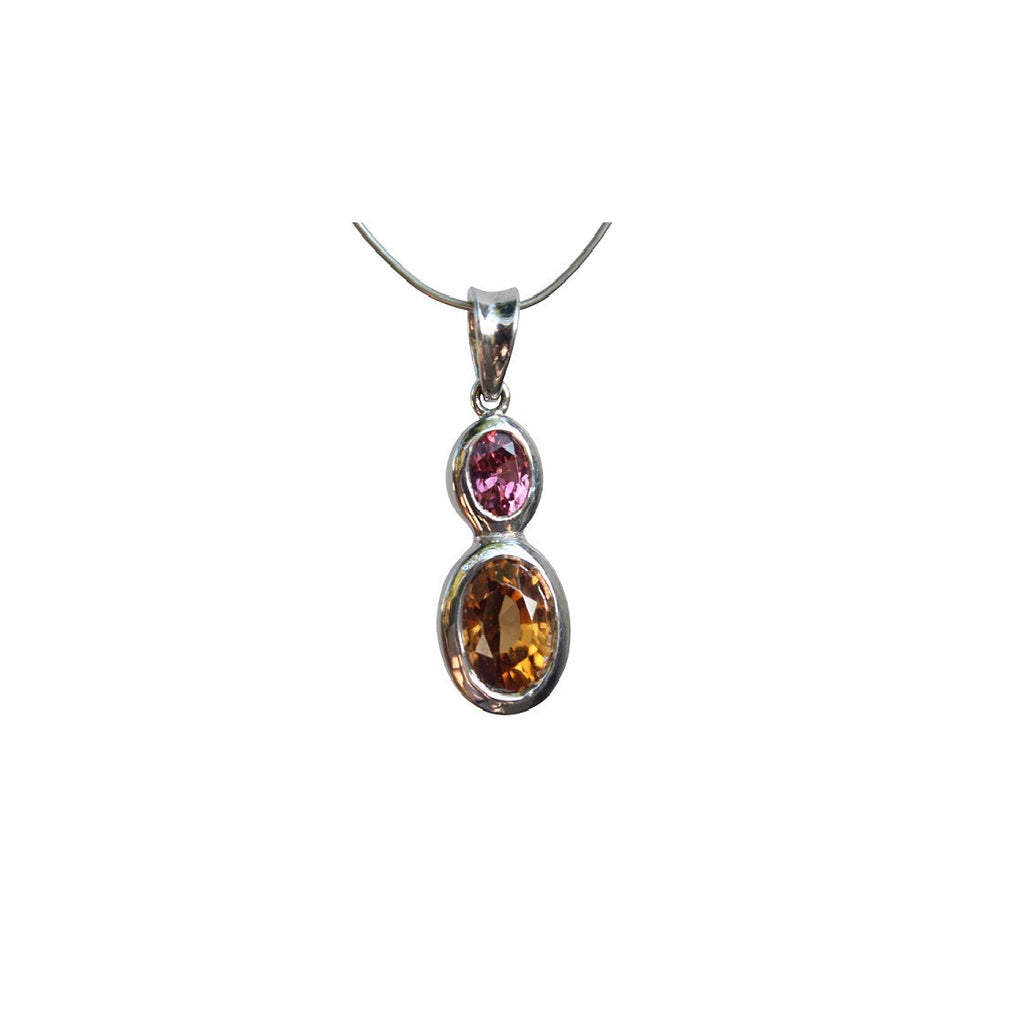 Natural Zircon and Rhodolite Garnet Gemstone Pendant set in Sterling Silver - Amazon Imports, Inc. - Fine Quality Gemstones and Jewelry Since 1978