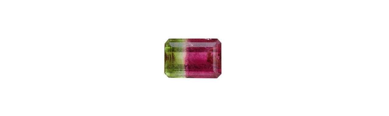 TRI COLOR TOURMALINE GEMSTONE - 12.25 CTS. EMERALD CUT
