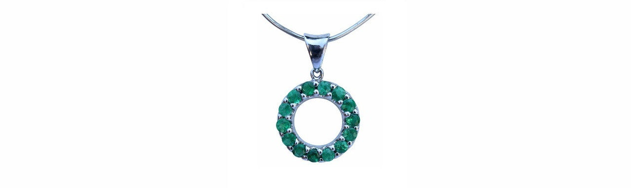 Emerald Circle Pendant set in Sterling Silver - Amazon Imports Fine Gemstones and Jewelry Since 1978
