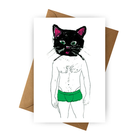 Card - Cat in Green Shorts