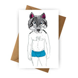 Card - Wolf in Blue Shorts