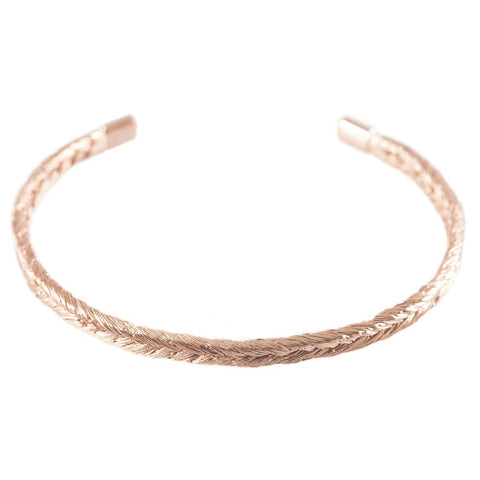 Magnitude Plait Fishbone Bangle In Auburn