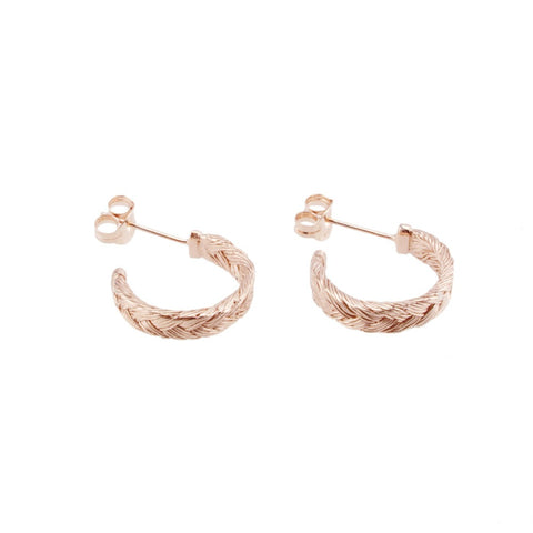 Fishbone Plait Hoop Earrings In Auburn