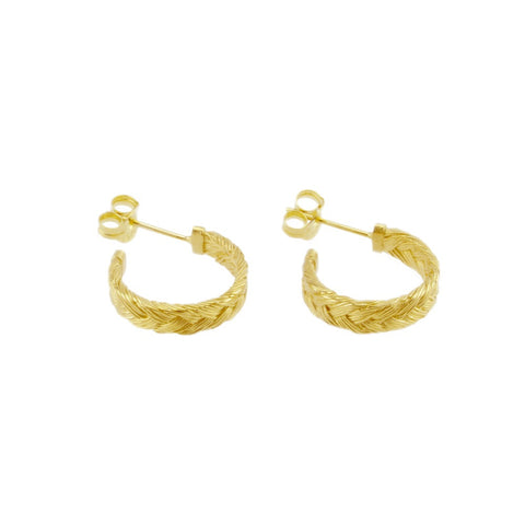 Fishbone Plait Hoop Earrings In Golden Blond