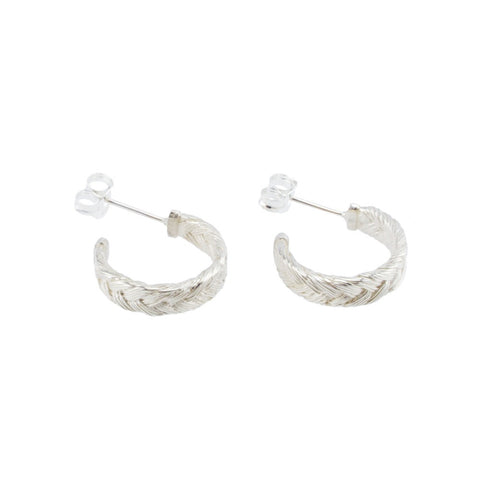 Fishbone Plait Hoop Earrings In Silver