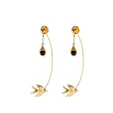 Gold Swallow and Flower Earrings