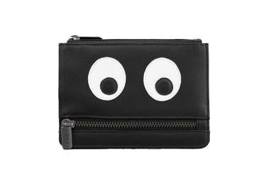 HUNGRY EYES BLACK LEATHER ZIP PURSE