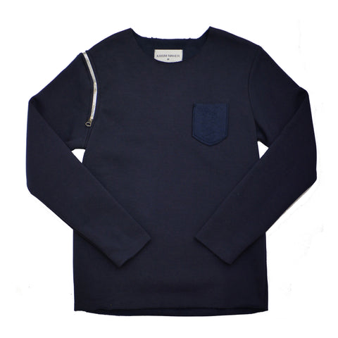 Raw Edge Navy Sweatshirt