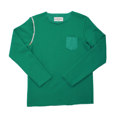 Raw Edge Green Sweatshirt