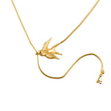 Gold Swallow and Key Necklace
