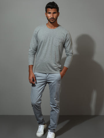Grey Cotton Jersey Long-Sleeved T-Shirt