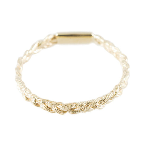Magnitude Plait Skinny Ring In Golden Blond