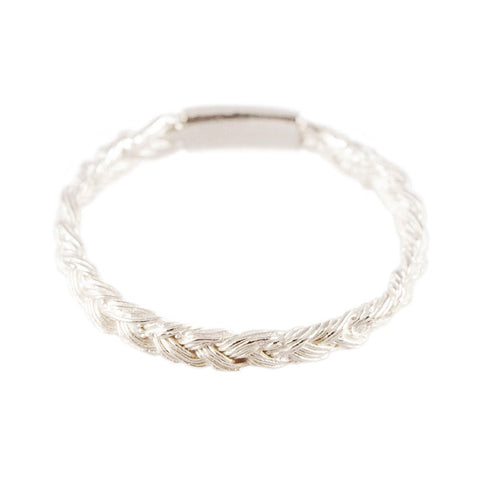 Magnitude Plait Skinny Ring in Silver/White