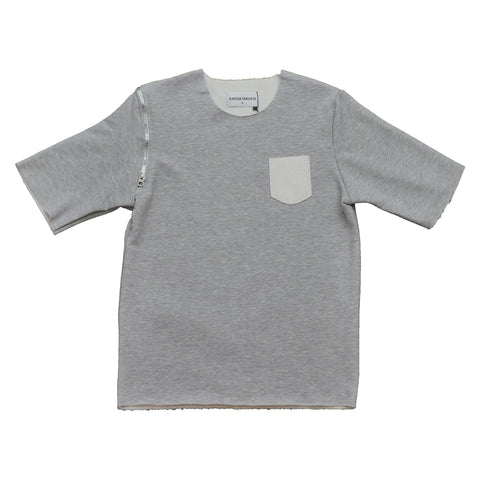 Short Sleeve Raw Edge Grey