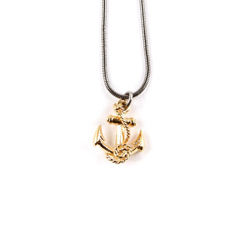 Gold and Ruthenium Anchor Pendant