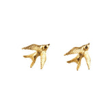 Gold Swallow Stud Earrings