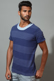 Striped Contrast Neck T-Shirt