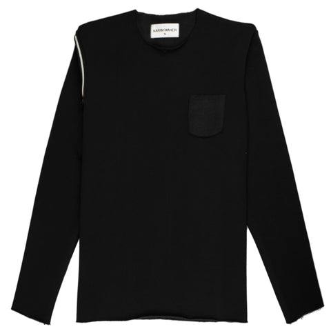 Raw Edge Black Sweatshirt
