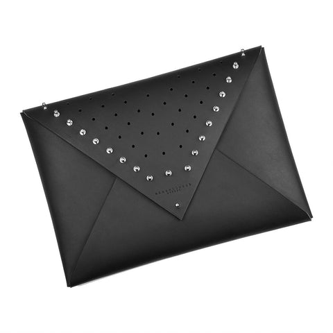 Large Leather Envelope Clutch - Studded