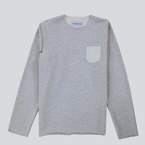 Raw Edge Light Grey Sweatshirt