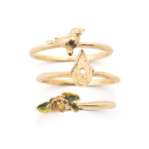 Bird House Stacking Ring - Gold