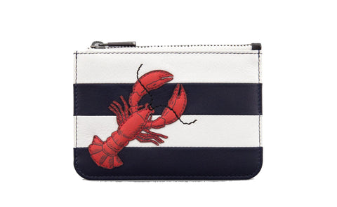 Lobster Navy And White Stripe Leather Zip Top Purse
