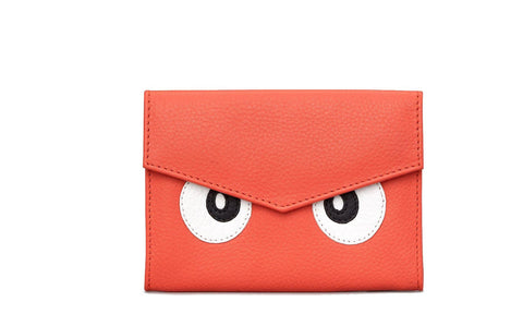 Surpr-Eyes Coral Leather Flap Over Purse