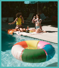 Picture of a pool float in the pool