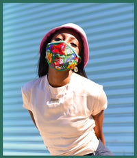 Model wearing green floral face mask
