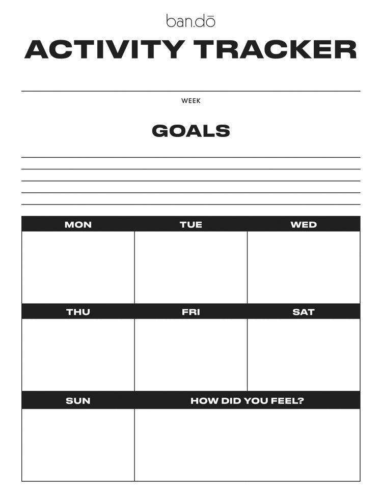 Worksheet for tracking daily activity