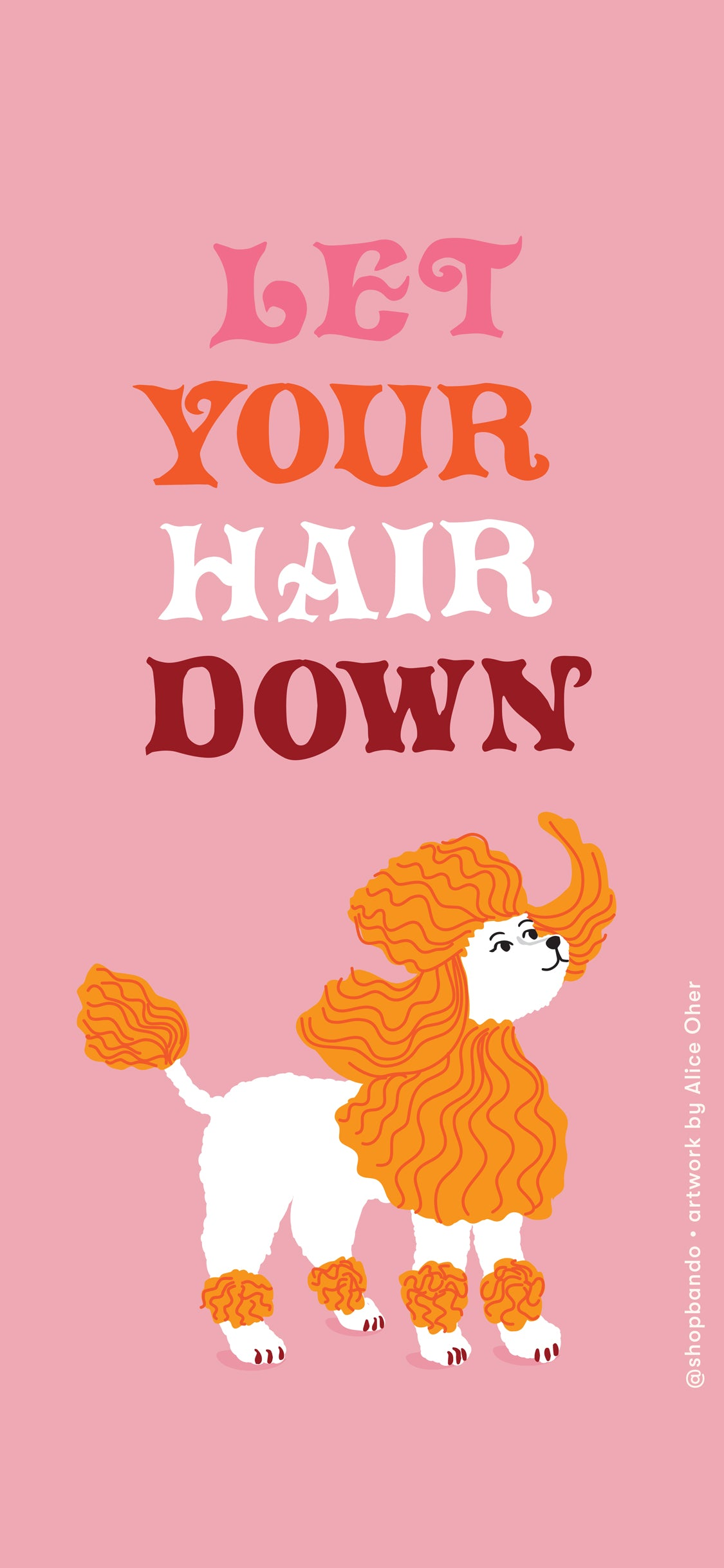 pink backroung with poodle and let your hair down lettering
