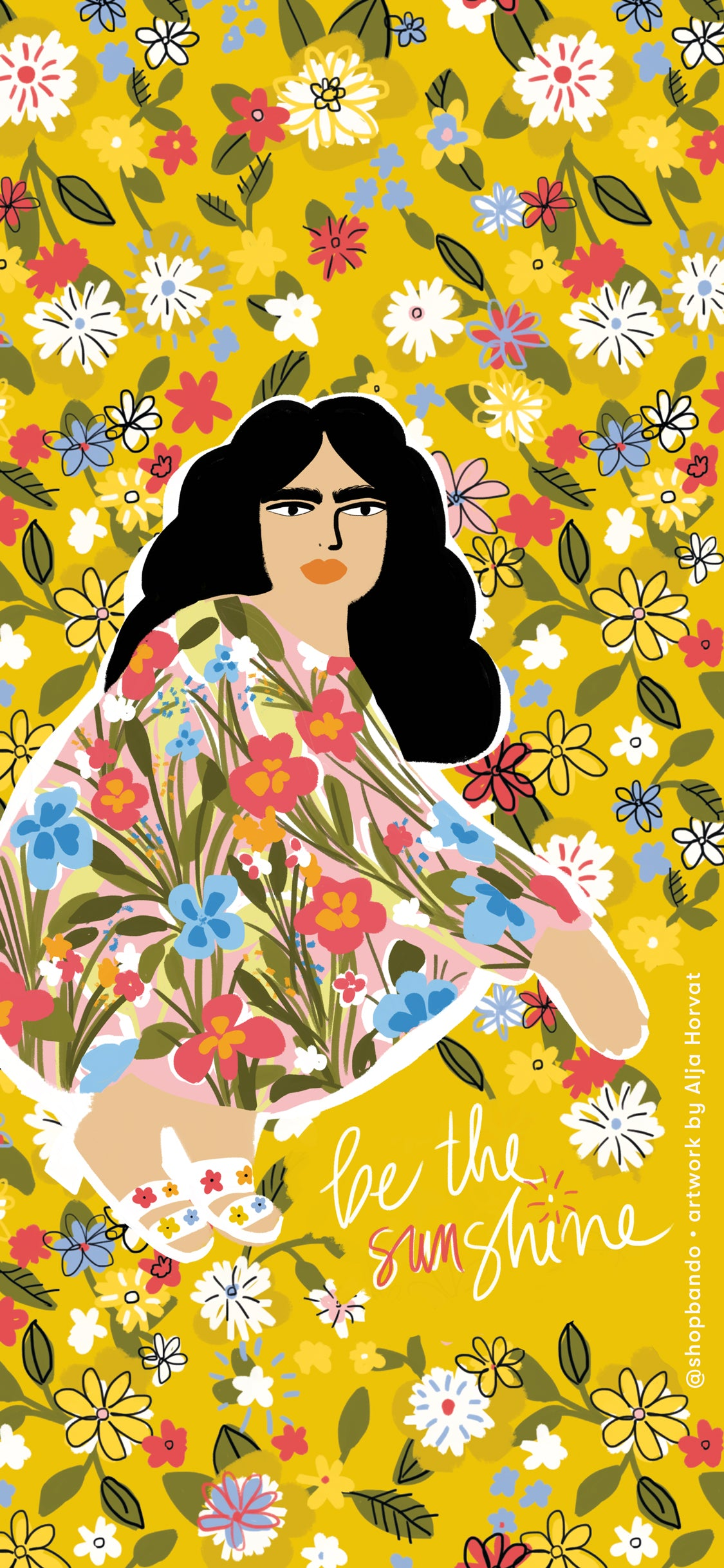 illustration of women against yellow floral background